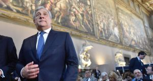 President of the European Parliament Antonio Tajani during the EU-Latin America Parliamentary Assembly in Florence, Italy, last last month. File photograph: Maurizio Degl' Innocenti/EPA