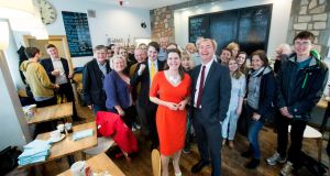 Liberal Democrats leader Tim Farron and Jo Swinson, local candidate for East Dunbartonshire, with activists  on the general election campaign trail. Photograph:   Victoria Jones/PA