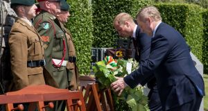 Britain's Prince William, Duke of Cambridge and Taoiseach Enda Kenny lay wreaths during the Battle of Messines Ridge commemoration in Messines, Belgium, on June 7th, 2017. Photograph: EPA/Stephanie Lecocq
