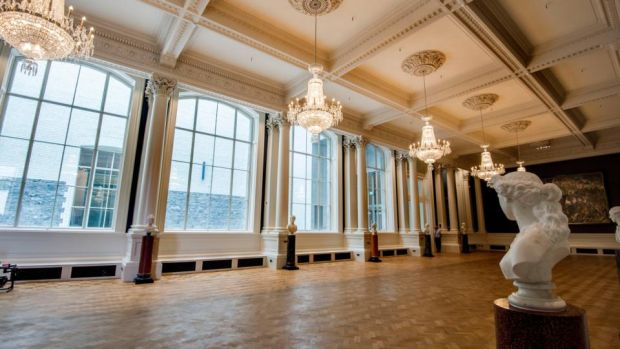 New-look National Gallery of Ireland: the renovated Shaw Room. Its four big windows, designed for the room's original use, as a sculpture court, have been unblocked. Photograph: Brenda Fitzsimons