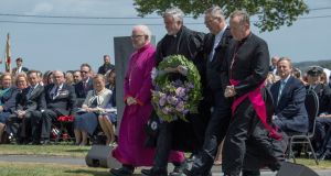 Church leaders from Ireland lay wreaths during a ceremony at the Island of Ireland Peace Park in Messines, Belgium to commemorate Battle of Messines Ridge. Photograph: Arthur Edwards/The Sun/PA
