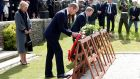 Britain's Prince William and Taoiseach  Enda Kenny lay a wreath next to Belgium's Princess Astrid during Commemorations of Battle of Messines Ridge at Military Cemetery in Wijtschate, Belgium June 7th, 2017. REUTERS/Francois Lenoir