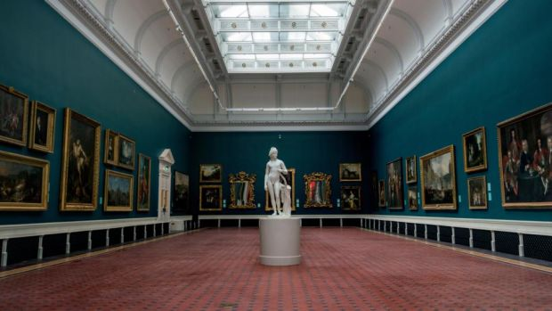 New-look National Gallery of Ireland: the renovated Grand Gallery. Aluminium grilles in the roof lights maintain its daylight quality. Photograph: Brenda Fitzsimons