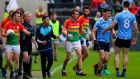 Dublin's Diarmuid Connolly walks away from linesman Ciaran Branagan against Carlow. Photograph: Inpho