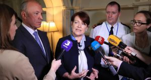 Garda commissioner Nóirín O'Sullivan and Deputy Commissioner John Twomey (left) speak to reporters after a meeting of the  International Association of Chiefs of Police on Wednesday. Photograph: Collins