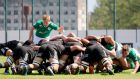 Ireland's Jonny Stewart watches the scrum in their defeat to New Zealand during their World Rugby U20 Championship Pool B clash. Photo: Archil Gegenava/Inpho