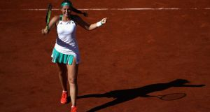 Jelena Ostapenko of Latvia celebrates victory following  her French Open semi-final win over  Timea Bacsinszky of Switzerland  at Roland Garros. Photograph: Julian Finney/Getty Images