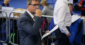 DUP candidate for Lagan Valley Sir Jeffrey Donaldson watches as counting in  the British general election continues at the Eikon Exhibition Centre in Lisburn. Photograph: Brian Lawless/PA Wire