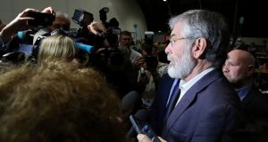 Sinn Féin president Gerry Adams speaks to  the media at the count centre at the  Titanic Exhibition Centre in Belfast after the polls closed in the UK general election. Photograph: Paul Faith/AFP/Getty Images