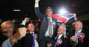 DUP candidate for Lagan Valley Jeffrey Donaldson celebrates following his election at the Eikon Exhibition Centre in Lisburn. Photograph: Brian Lawless/PA Wire
