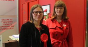 Labour councillor Jennifer Churchill and the party's candidate in the Twickenham constituency, Katherine Dunn, at the count centre at Twickenham stadium in west London. Photograph: Simon Carswell