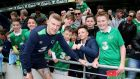 James McClean poses for a picture with fans after Ireland training at the Aviva Stadium. Photo: Tommy Dickson/Inpho
