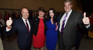 The DUP's Nigel Dodds, left, with Arlene Foster,  Emma Little Pengelly and  Gavin Robinson, won 21,240 votes compared with John Finucane's 19,159. Photograph:   Charles McQuillan/Getty Images