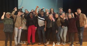 Students and teachers from Mount Temple Comprehensive School, Dublin, during rehearsals for their play about direct provision and the refugee crisis