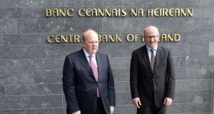Minister for Finance Michael Noonan with governor of the Central Bank Philip R Lane. Are they right to dismiss the warnings of impending property bubble? Photograph: Dara Mac Dónaill
