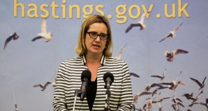 Britain's Home Secretary Amber Rudd's speaks after retaining her seat at a counting centre for Britain's general election in Hastings. Photograph: Reuters