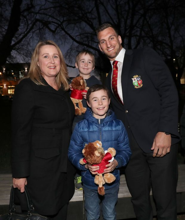 Sam Warburton with Dan, Sean and Sarah O'Connor at a memorial ceremony for victims of the Christchurch earthuake. Photo: Inpho