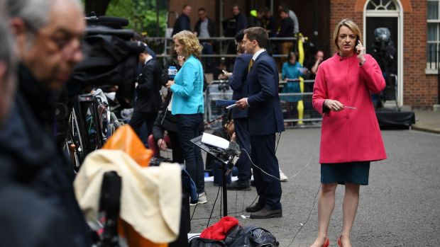 BBC political editor Laura Kuenssberg waiting for prime minister Theresa May outside Downing Street on Friday morning. Photograph: Justin Tallis/AFP/Getty Images
