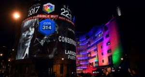 An exit poll predicting that the Conservatives  would not win a majority is projected on to  BBC Broadcasting House in London on Thursday night.  The news that everybody (bar YouGov) had been madly wrong suited broadcasters very nicely. Photograph: Paul Ellis/AFP/Getty Images