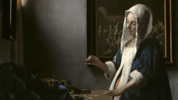 Johannes Vermeer (1632-1675) Woman with a Balance, c.1664 Oil on canvas, 40.3 x 35.6 cm National Gallery of Art, Washington DC Widener Collection. Courtesy National Gallery of Art, Washington.