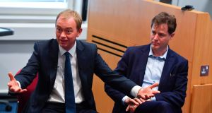 Liberal Democrat leader Tim Farron and his predecessor, Nick Clegg. Photograph: Ben Stansall/AFP/Getty