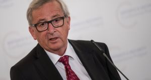 European Commission president Jean-Claude Juncker at a press conference in Prague. Photograph: Christian Bruna