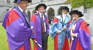 Galway businessman John McNamara (Doctor of Laws), Fintan O'Toole of the Irish Times (Doctor of Laws), Dr Kristina M. Johnson and Prof Jane Grimson. Photograph: Joe O'Shaughnessy