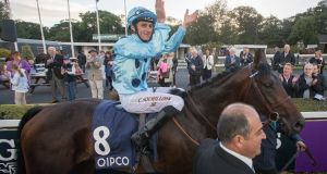 Christophe Soumillon on board Almanzor celebrates winning The Qipco Irish Champion Stakes last September. Photograph: Ryan Byrne/Inpho