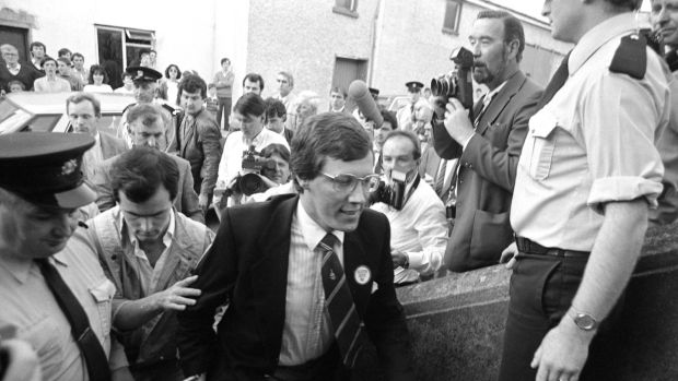 "Angry crowds at Ballybay District Court, Co Monaghan in 1986 over the ""Clontibret Affair"", the 1986 incursion by loyalists led by Peter Robinson in the the Republic. Photograph: Peter Thursfield/The Irish Times."