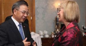 Guangdong province leader  Hu ChunHua and Enterprise Ireland chief executive Julie Sinnamon at the Sino-Irish event in Dublin on Friday.