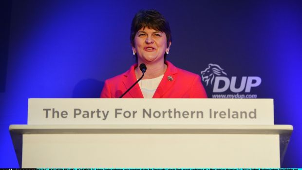 Arlene Foster addresses party members during in 2015. Photograph: Charles McQuillan/Getty