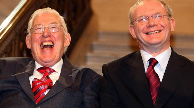 First Minister Ian Paisley and Deputy First Minister Martin McGuinness, both now deceased, after being sworn in as ministers of the Northern Ireland Assembley in 2007. Photograph: Paul Faith/PA