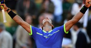 Spain's Rafael Nadal celebrates after beating  Austria's Dominic Thiem in their French Open semi-final at Roland Garros  in Paris. Photograph: Gabriel Bouys/AFP/Getty Images