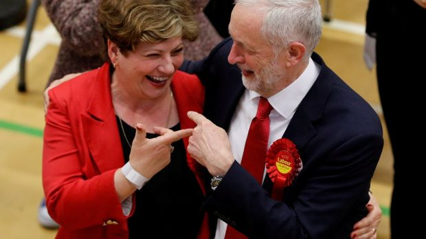 Corbyn and Labour Party candidate Emily Thornberry at a count centre in London. Photograph: Darren Staples/Reuters