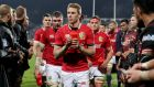 Lions' Liam Williams leaves the pitch with the rest of the team after their win over the Crusaders. Photo: Dan Sheridan/Inpho