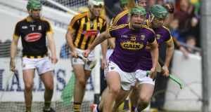 Wexford's Conor McDonald celebrates scoring  a goal in the Allianz Hurling League Division 1A quarter-final against Kilkenny at  Nowlan Park. Photograph: Ken Sutton/Inpho