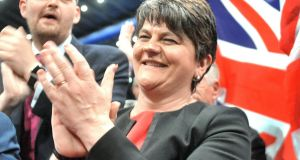 A delighted DUP leader Arlene Foster at the Belfast Count Centre on Friday supporting MP Gavin Robinson who had just been elected in East Belfast. Alan Lewis- PhotopressBelfast.co.uk .