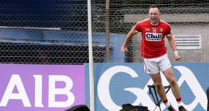 Cork's Paul Kerrigan celebrates after scoring a point from a tight angle. Photograph: Tommy Dickson/Inpho
