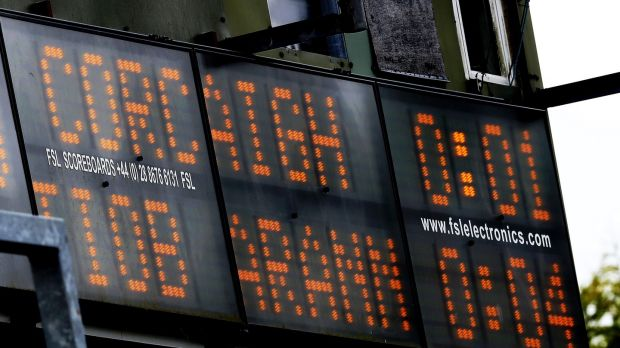 A view of the scoreboard at half-time. Photograph: Tommy Dickson/Inpho