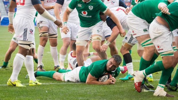 Jack Conan scores a try after Ireland's scrum rumbled over the line. Photograph: Ryan Byrne/Inpho