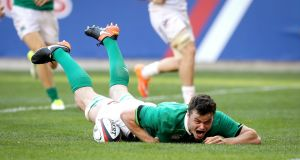Ireland's James Ryan scores a try just after his introduction in the second half. Photograph: Ryan Byrne/Inpho