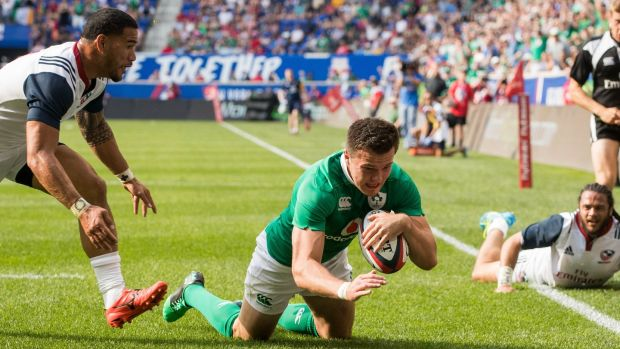 Ireland's Jacob Stockdale scores on his debut. Photograph: Ryan Byrne/Inpho