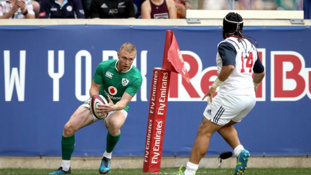 Keith Earls scores the first try of the game. Photograph: Ryan Byrne/Inpho