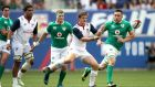 USA outhalf AJ MacGinty passes the ball during Ireland's win in New Jersey. Photograph: Ryan Byrne/Inpho