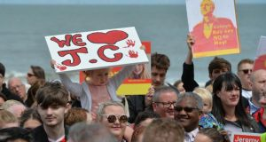British Labour Party supporters  at a general election campaign event in Wales. Photograph: Peter Powell/EPA