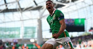 Jonathan Walters celebrates scoring his goal late on in the World Cup qualifier between the Republic of Ireland and Austria at the Aviva Stadium.  Photograph: Clodagh Kilcoyne/Reuters/Livepic