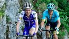 Ireland's Daniel Martin (left) and Denmark's Jakob Fuglsang ride in a breakaway during the 115 km eighth and last stage of the 69th edition of the Criterium du Dauphine. Photograph: Getty Images