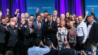Newly elected Fine Gael party leader Leo Varadkar  with party members. Photograph: Brian Lawless/PA Wire