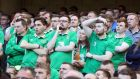Increasingly frustrated Ireland supporters: Wes Hoolahan's 71st-minute arrival was greeted as if he were the coming of the cavalry in person. Photograph: Niall Carson/PA Wire