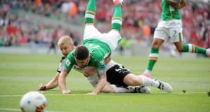 Hitting the ground: Robbie Brady and Martin Hinteregger in Sunday's World Cup qualifier between Ireland and Austria. Photograph: Aidan Crawley/EPA Ireland's Robbie Brady is tackled by Austria's Martin Hinterregger during the 2018 FIFA World Cup qualifier. Photo: Aidan crawley/EPA